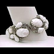 White Clamper Bracelet with Black Diamond Rhinestones