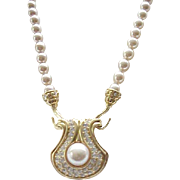Convertible Faux Pearl Necklace with Rhinestone Centerpiece