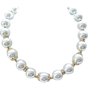 02 - Beautiful Lisner Faux Pearl Necklace, Drop Earrings with Rhinestone Rondelles