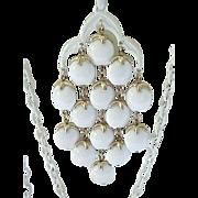 Trifari Waterfall Necklace - White Enamel with Goldtone