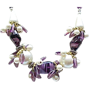 06 - Stunning Necklace Purple Venetian Glass Beads, Faux Pearls - Matching Earrings - Runway