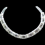 Elegant Faux Pearl & Black Diamond Rhinestone Necklace,  Earrings Elizabeth Morrey