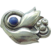 Georg Jensen Iconic Tulip Pin Sterling with Lapis
