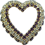 Impressive Joseph Warner Rhinestone Heart Pin
