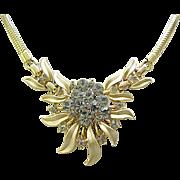 Exquisite Trifari Necklace, Bracelet - Black Diamond Rhinestones, Goldtone