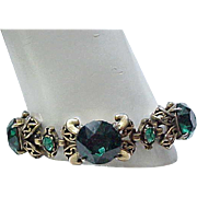 Fantastic Hollycraft Bracelet 1952 - Emerald Green Rhinestones - Substantial