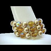 Beautiful Bracelet - 3 Strands Topaz Crystal Beads