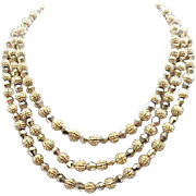3 Strand Trifari Necklace, Earrings - Shiny Goldtone Beads, Textured Beads