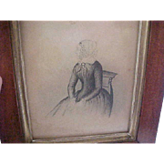 Pair Early Pencil Portraits - Man and Woman - Framed - 1790 - 1840