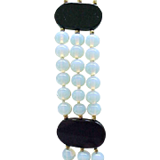 Elegant 3 Strand Necklace Opalescent Glass, Black Glass Plaques - Showstopper