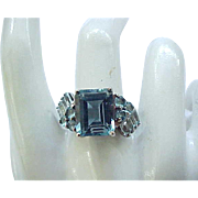 03 - Sterling Silver Ring Simulated Blue Topaz - size 9