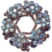 Gorgeous Juliana Brooch & Ear Clips - Topaz with Blue Aurora Borealis