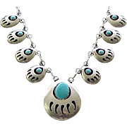 Native American Bear Paw Necklace - Sterling & Turquoise