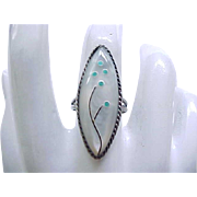 Zuni Sterling Ring - Mother of Pearl with Inlay Sterling & Turquoise - Size 6 3/4