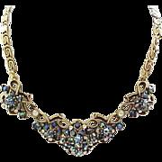 Fabulous Florenza Rhinestone Necklace & Clip Earrings