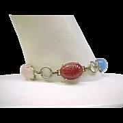 Scarab Bracelet - Five Natural Stones, Silvertone Metal