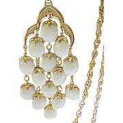 Trifari Waterfall Necklace - Creamy White, Goldtone