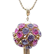 Ever So Pretty Rhinestone Disco Ball Necklace - Hot Pink, Purple - Krementz