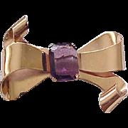 Chic Coro Sterling Bow Pin - Purple Rhinestone