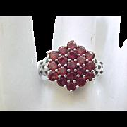 Sterling Silver & Garnet Ring - size 10 1/4