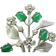 Delightful Krementz Pin & Earrings - Silvertone Metal with Rhinestones, Green Glass
