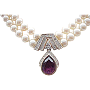 Elegant Panetta Faux Pearl Necklace with Fabulous Rhinestone Pendant