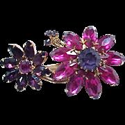 05 - Delightful Rhinestone Flower Pin - Fuchsia & Purple