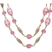 Beautiful Necklace Pink Crystals, Art Glass Beads, Filigree - 2 Strands