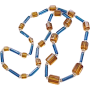 Fabulous Deco Czech Necklace - Glass Beads Blue & Amber