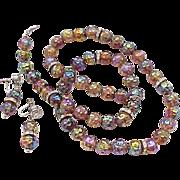 08 - Metallic Iridescent Glass Bead Necklace, Earrings