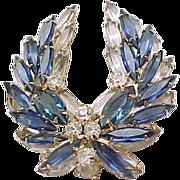 Exquisite Juliana D & E Blue Rhinestone Brooch, Earrings