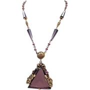 Spectacular Czech Purple Necklace with Enameling