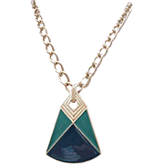 Chic Trifari Pendant Necklace - Teal Enamel, Goldtone