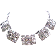 Extraordinary Rhinestone Choker Necklace - Huge Baguettes and Emerald Cut Rhinestones