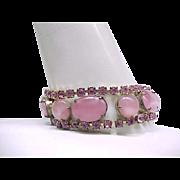 Gorgeous Pink Glass Moonstone and Rhinestone Bracelet