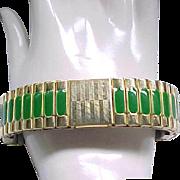 Goldtone Expansion Bracelet with Green Enamel Panels