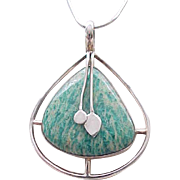 Artisan Sterling Silver Necklace with Natural Stone
