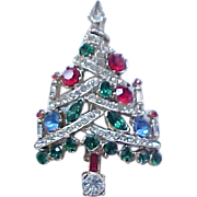 Rhinestone Candle Tree Christmas Pin