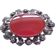 Charming Wachenheimer Sterling Pin with Carnelian Center - Roses