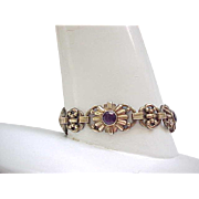 High Quality Gold Filled Bracelet with Purple Rhinestones - Engel Brothers