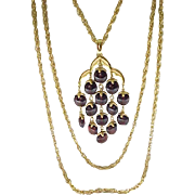 Trifari Rootbeer Waterfall Necklace, Goldtone Metal - Excellent