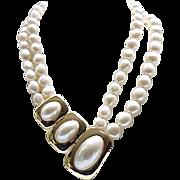 Elegant Asymmetrical Kunio Matsumoto Faux Pearl Necklace Trifari