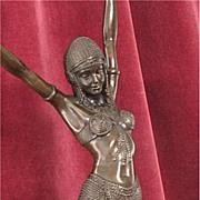 Bronze Art Deco Egyptian Dancer Signed Chiparus Sculpture