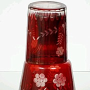 Bohemian Ruby to Clear Bedside Water Pitcher