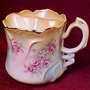 Brandenburg Shaving Mug or Cup with Ornate Handle - Pink Roses