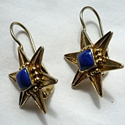 Antique Vermeil and Lapis Star Shape Earrings