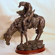 "Vintage Bronze ""End of the Trail"" Native American Indian sculpture"