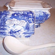 Blue and White Transferware Tureen w/Ladle
