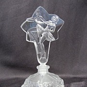 Perfume Bottle with Etched Art Deco Style Dancers Stopper - Signed Desna