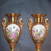 Pair of Swan Handled Vases Marked Sevres